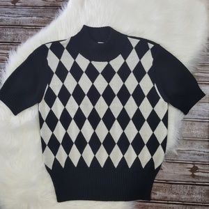 Vintage Essential Elements Diamond Check Sweater